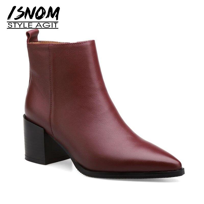 ISNOM prawdziwej skóry kobiet botki Pointed Toe Zip obuwie grube szpilki kobiece buty nowe buty damskie 2020 zima w Buty do kostki od Buty na  Grupa 1