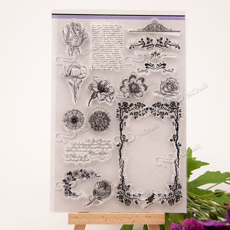 Flower Scrapbook DIY photo cards rubber