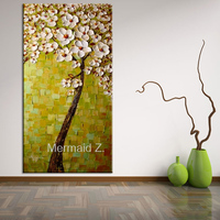 handmade long vertical paintings abstract wall oil paintings flower tree on canvas decoration thick pallete knife modern home