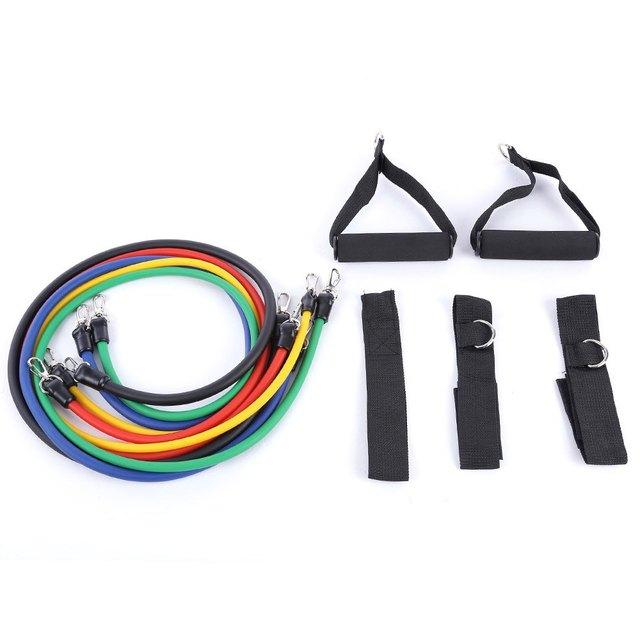 11pcs/Set Natural Rubber Latex Resistance Bands Practical Elastic Training Rope Fitness Exercise Yoga Sport Resistance Bands