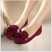 2015 Autumn bow women pointed single shoes flat heel soft bottom ballet work flats shoes woman moccasins size 33-43 free ship