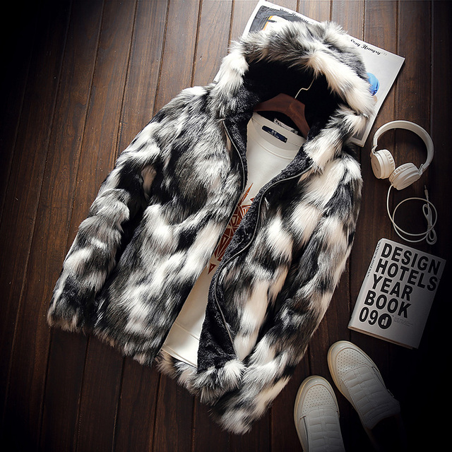 Winter Faux Fur Thick Men's Jackets Hot Fashion Men and Women Couples Warm and Comfortable Clothing Slim Gray Men Coats S M 3XL