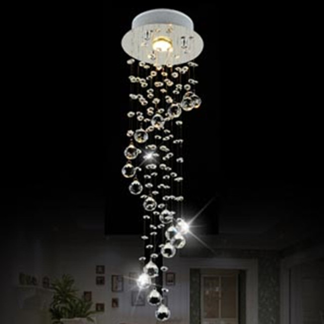 Modern Clear Waterford Spiral Sphere Led Re Crystal Chandelier Home Decor Suspension Haning Lamp Fixture Light