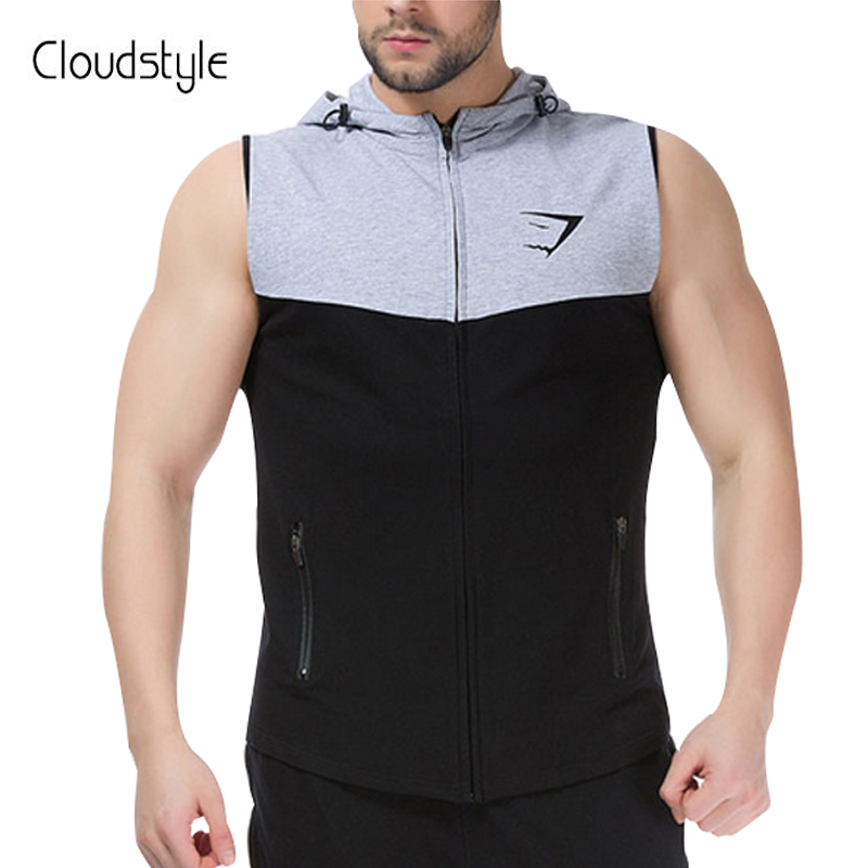 Cloudstyle 2018 Mâle Marque de Mode De Gilet de Sport Gilet Avec Le Chapeau Casual Slim Fit Fitness Porter Hommes Cool Hommes Zipper Conception gilet