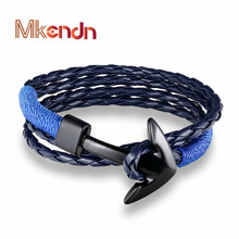 MKENDN New Fashion Multilayer charm Women Leather Bracelet Wristband Black Anchor Bracelet Men Jewelry Accessories Pulseras
