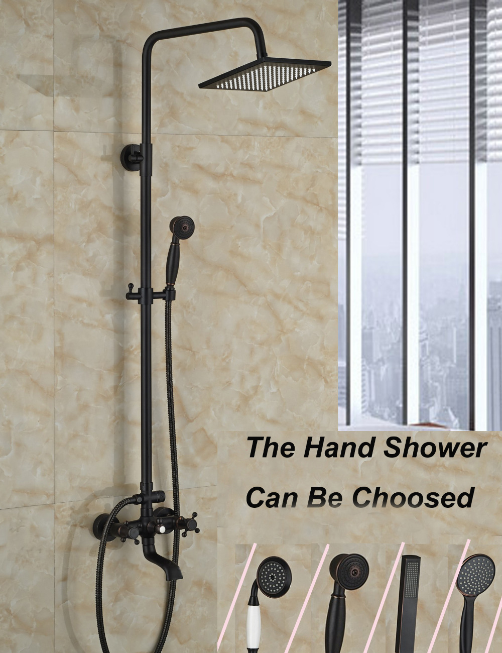 Square Rainfall Oil Rubbed Bronze Shower Faucet Brass Swivel