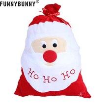 FUNNYBUNNY 1 pc Big Christmas Bag Santa Claus Gift Sack Stocking Candy Bags