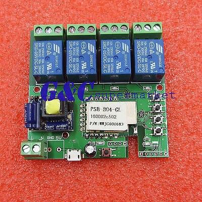 DC 220 В Wi-Fi Беспроводной Реле Задержки Модуль 4-way управления для Смарт-Hom