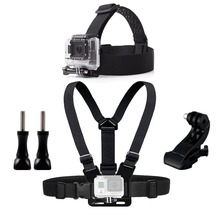 Chest Head Belt Mount For Gopro Hero 5 4 accessories Set SJCAM SJ4000 Action Camera Go pro J mount for Head Harness Strap 20