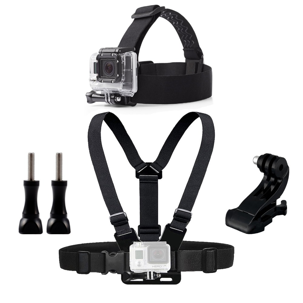 Chest Head Belt Mount For Gopro Hero 5 4 accessories Set SJCAM SJ4000 Action Camera Go pro J mount for Head Harness Strap