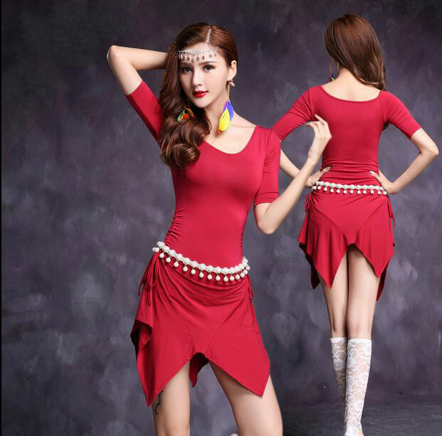 Good Quality Belly Dance Costume Bellydance Top+skirt Suits For Woman 4colors Dance Wear M, L