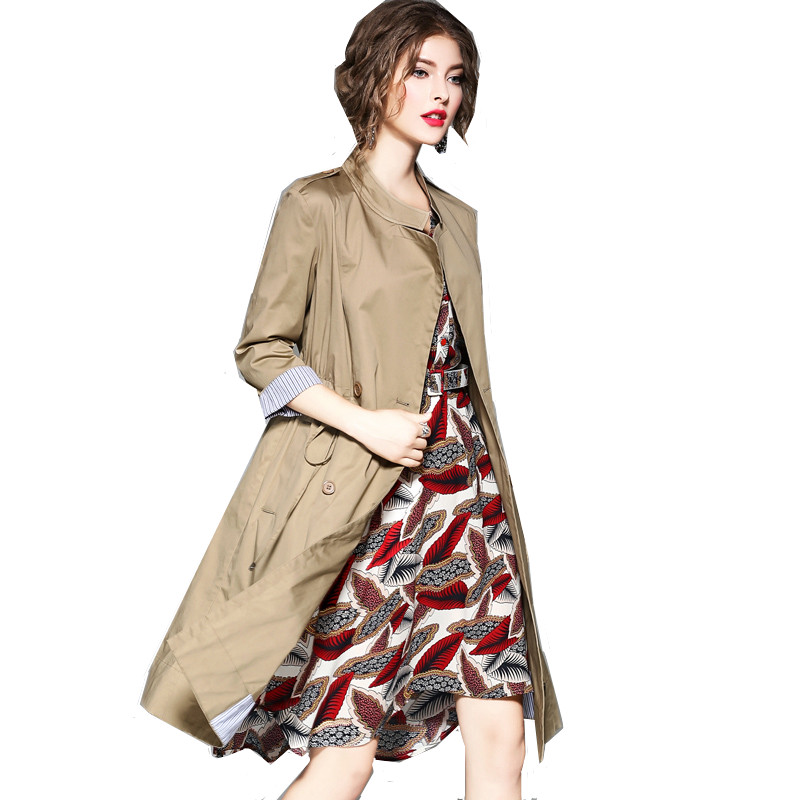 Coupe breasted Printemps Photo vent De Double Color Color Automne Manteau Section Longue Trench Femmes Version 2018 Mode photo Coréenne wIx7gqq