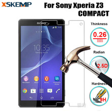 Premium 9H 0.26MM 9H Explosion Proof Tempered Glass For Sony Xperia Z3 COMPACT mini No Fingerprint Glossy Screen Protector Film