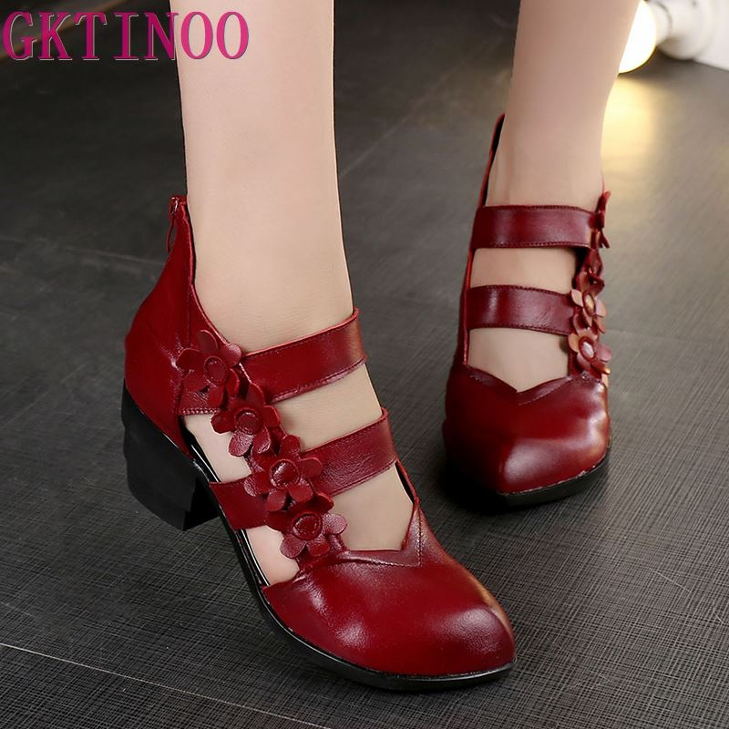 GKTINOO 2019 Ethnic Style Genuine Leather Women Sandals Med Heels Closed Toes Handmade Summer Soft Outsole
