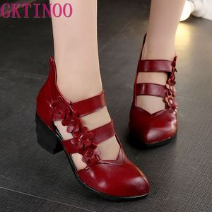 GKTINOO 2020 Ethnische Stil Aus Echtem Leder Frauen Sandalen Med Heels Geschlossen Zehen Handgemachte Sommer Weiches Outsole Frauen Casual Schuhe