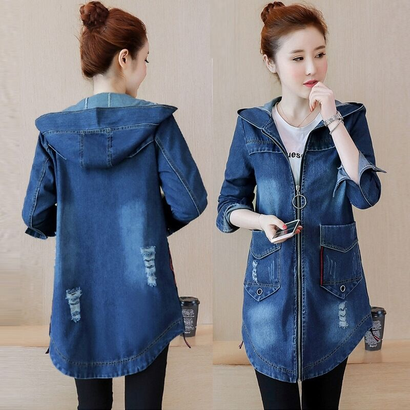 Denim Women   Trench   Blue Wash Dye Basical Autumn Long Coat Big Size Full Sleeve V-Neck Fashion Hole Frayed Overcoat 2019 Fashion