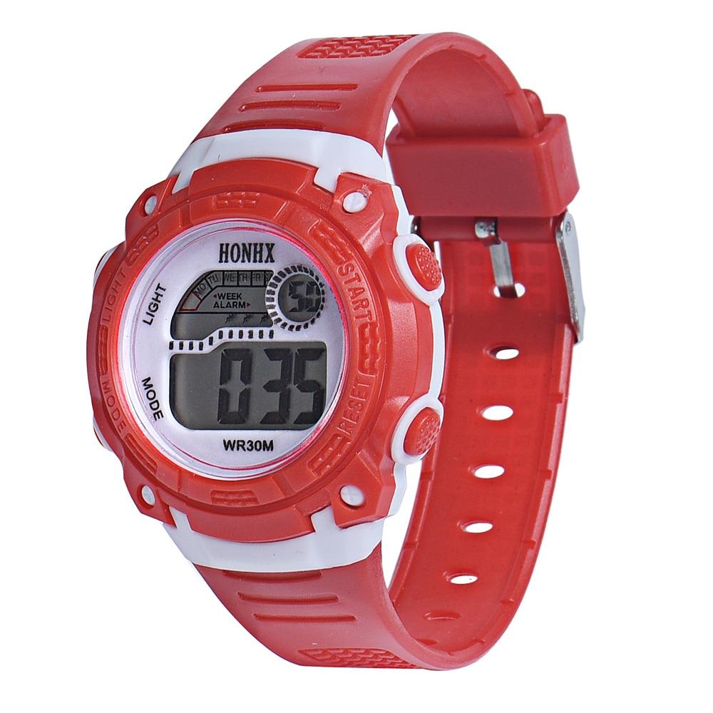 Children Girls Digital LED Quartz Alarm Date Sports Wrist Watch children's watches for kids boys HONHX High Quality 100pcs/lot
