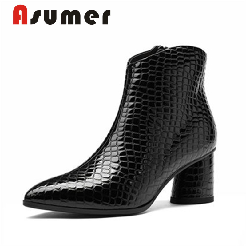 ASUMER Boots Thick-Heels Adult Genuine-Leather Fashion Women Solid Ankle for Hot-Sale