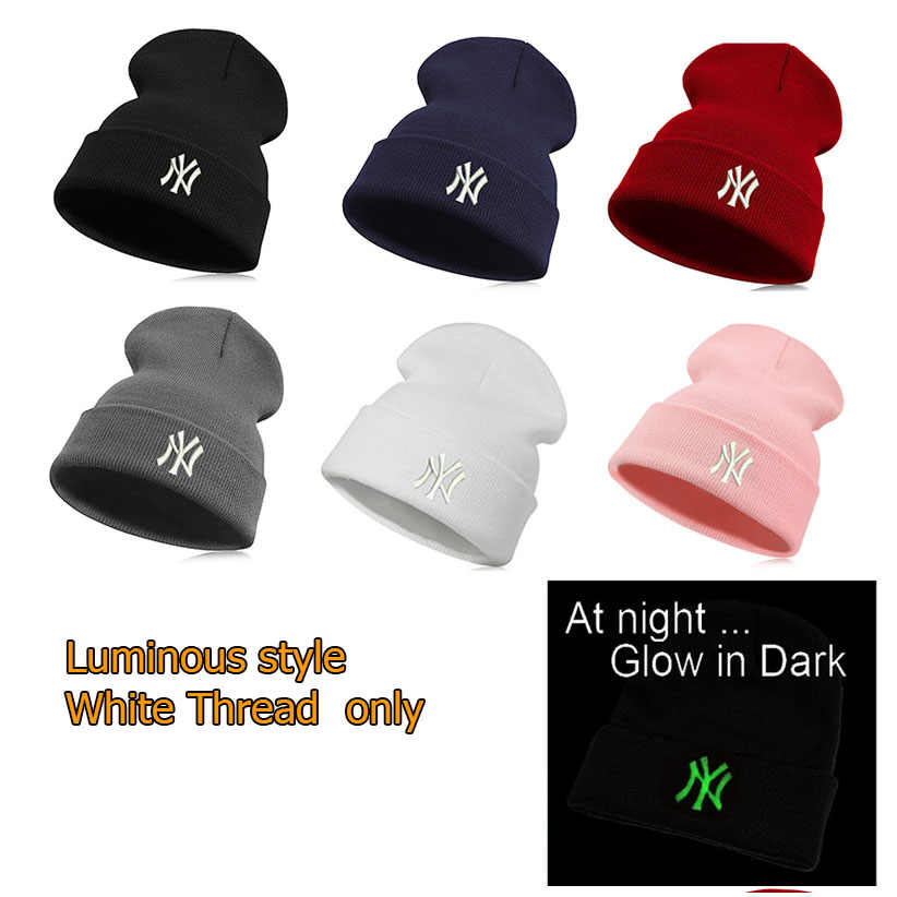 39df12df795 ... Luminous embroidery Unisex Casual Letter New York knitted Warm Hiphop  Beanie Skullies Winter Fashion Hats for ...