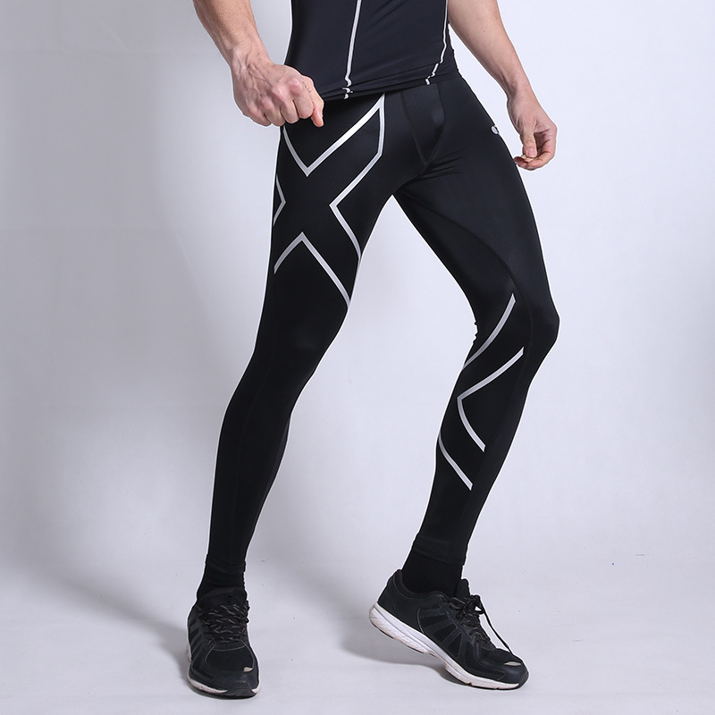 Men Compression Sports Pants Elastic Tights Fitness Clothes Printed Skinny Gym Running Trousers Plus Size 3XL Sportswear