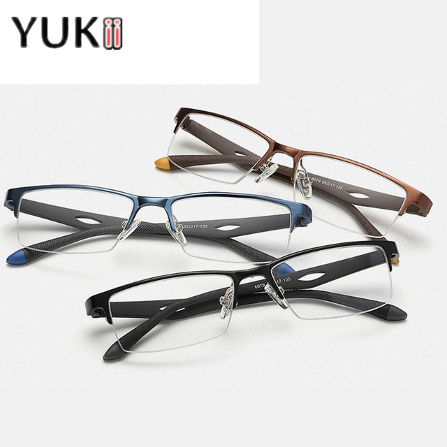 YUKII Half-Frame Quadrado Marca Óculos Simples Óculos de Armação Homens de Negócios Estilo Óculos Masculinos Óculos de Olho Plana