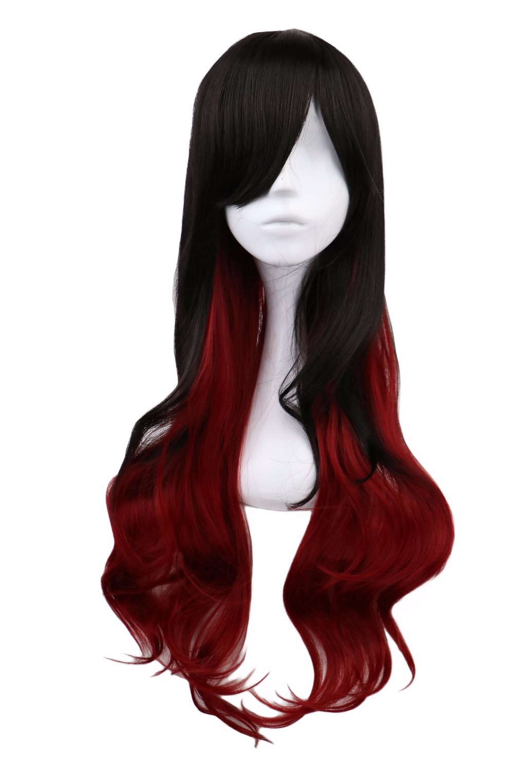 QQXCAIW Women Long Curly Cosplay Black To Red Ombre 68 Cm Synthetic Hair Wigs