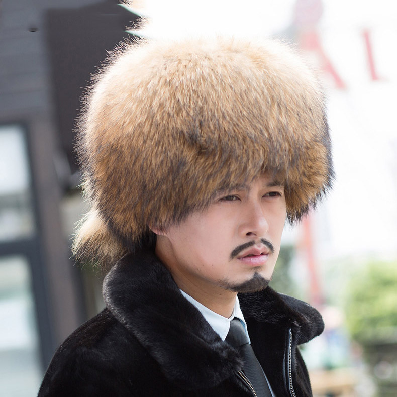 2018 New Skullies & Beanies Solid Natural Brown Color Cap Unisex Men Hat Winter Warm Real Raccoon Fur Russia Caps Women Headgear