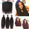 7A Grade 13*4 Ear To Ear Kinky Straight Lace Frontal Closure With Bundles Brazilian Virgin Hair With Closure Can Be Dyed
