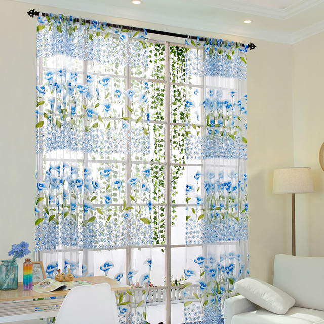 Ouneed Morning Glory Sheer Curtain Tulle Window Treatment Voile Drape Valance 1 Panel Fabric30