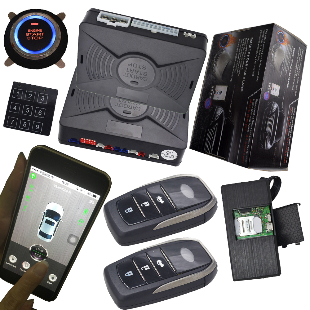 gps tracking system with car alarm protection keyless engine ignition start stop button mobile app control remote central lock easyguard pke car alarm system remote engine start stop shock sensor push button start stop window rise up automatically