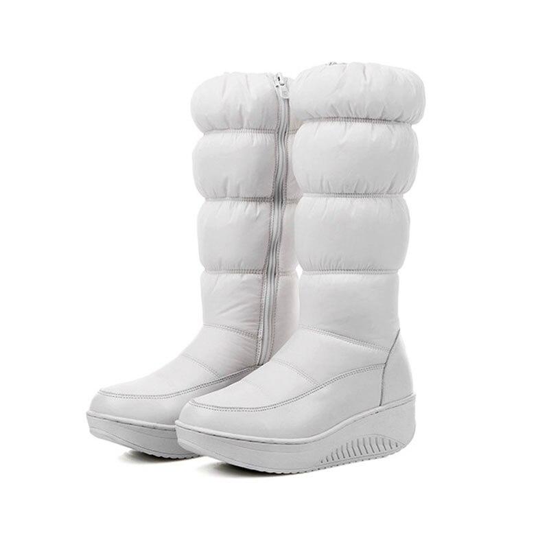 2017 Winter Warm Women think Over the knee Zip Snow Boots Rount Toe Wedge heels platform