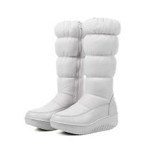2017 Hiver Chaud Femmes pense que Over-the-genou Zip Bottes de Neige Rount Orteil talons Compensés plate-forme Zipper boot femmes de bottes d'hiver. HX-88