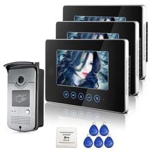 ENVÍO LIBRE Táctil Monitor de 7 pulgadas de Video Teléfono de Puerta de Intercomunicación Timbre sistema de 3 Monitores + 1 Cámara de Acceso RFID Al Aire Libre EN la ACCIÓN