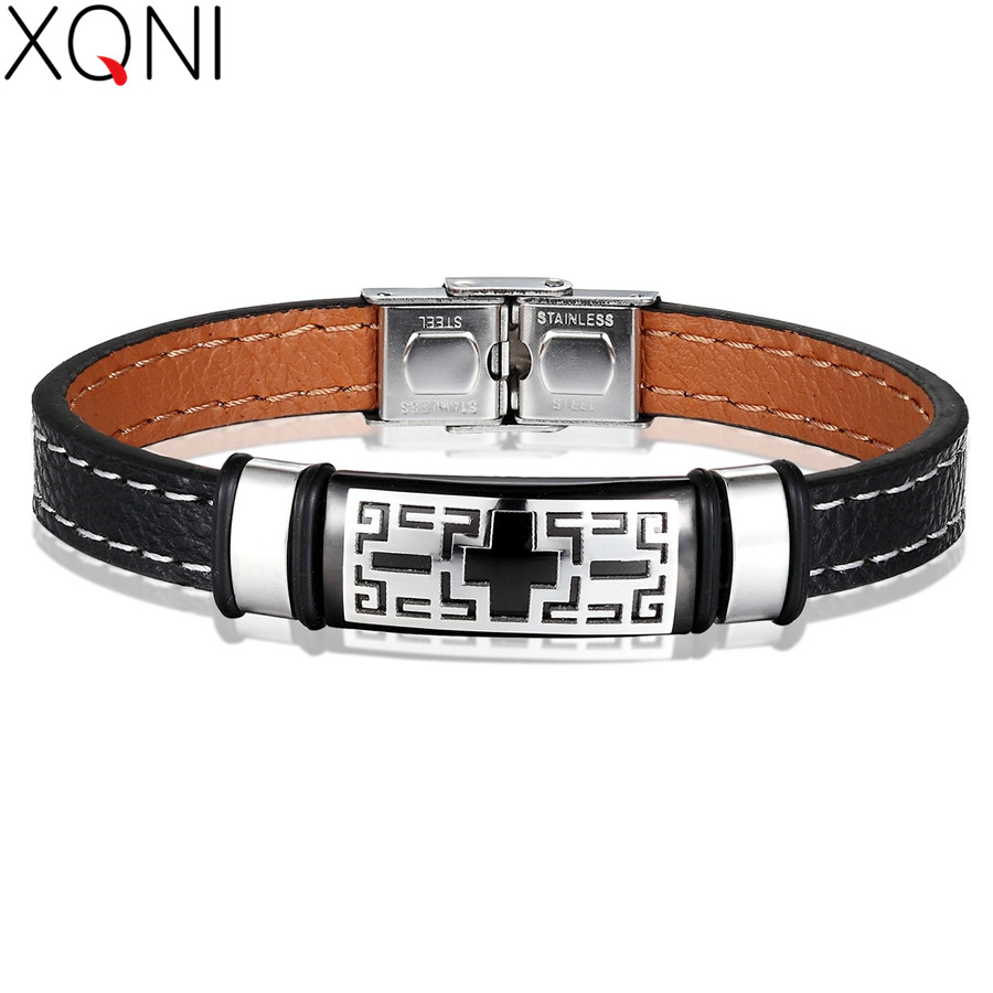 XQNI Stainless Steel Bracelet Maze Code Hollow Design Genuine Leather Bracelet Double Layer 3 Colors Accessories For Unisex Gift