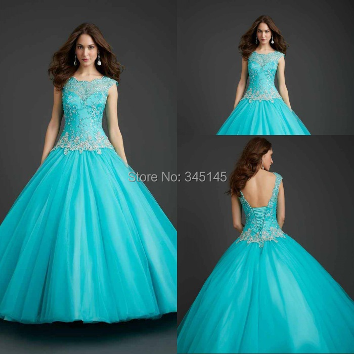 Unique Style For Girls Ball Gown Turquoise Quinceanera Dresses Scoop Embroidery Free Shipping Quinceanera Gowns