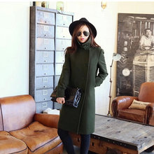 Women Autumn Winter Wool Trench Coat Nice New Fashion Formal More Wear Style Elegant Slim Solid Wool Thick Long Overcoat S1215