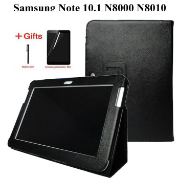 New Fashion Litchi Premium Stand DELLUNITÀ di elaborazione Custodia In Pelle Per Samsung Galaxy Note 10.1 GT-N8000 N8010 N8020 Tablet Cover + Film + penna