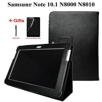 Yeni Moda Litchi Premium Standı PU Deri samsung kılıfı Galaxy Not 10.1 GT-N8000 N8010 N8020 Tablet Kapak + Film + Kalem