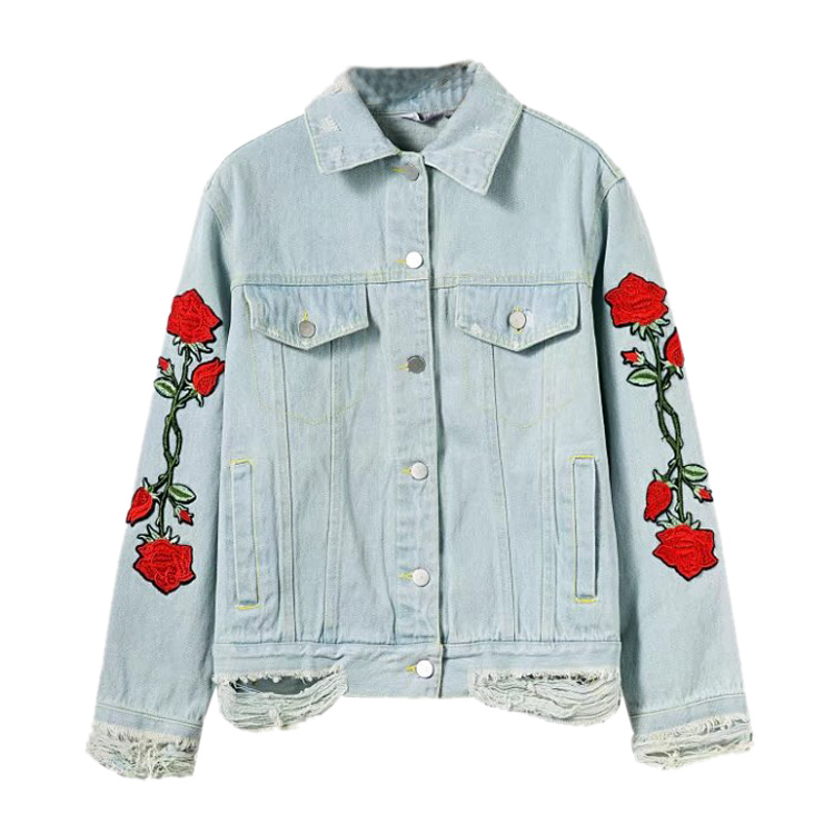 2017 girls Street School wind flower embroidered casual short jeans jacket, washed hole jacket