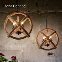 Vintage country 4 E14 base D50cm Rope round pendant lamp lights lighting loft house store shop cafe bar iron chain hanging light