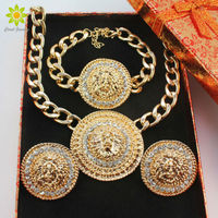 Fashion Vintage Lion Head Necklace Bracelets Earrings For Women Gold Color Rhinestone Jewelry Sets +Gift Box