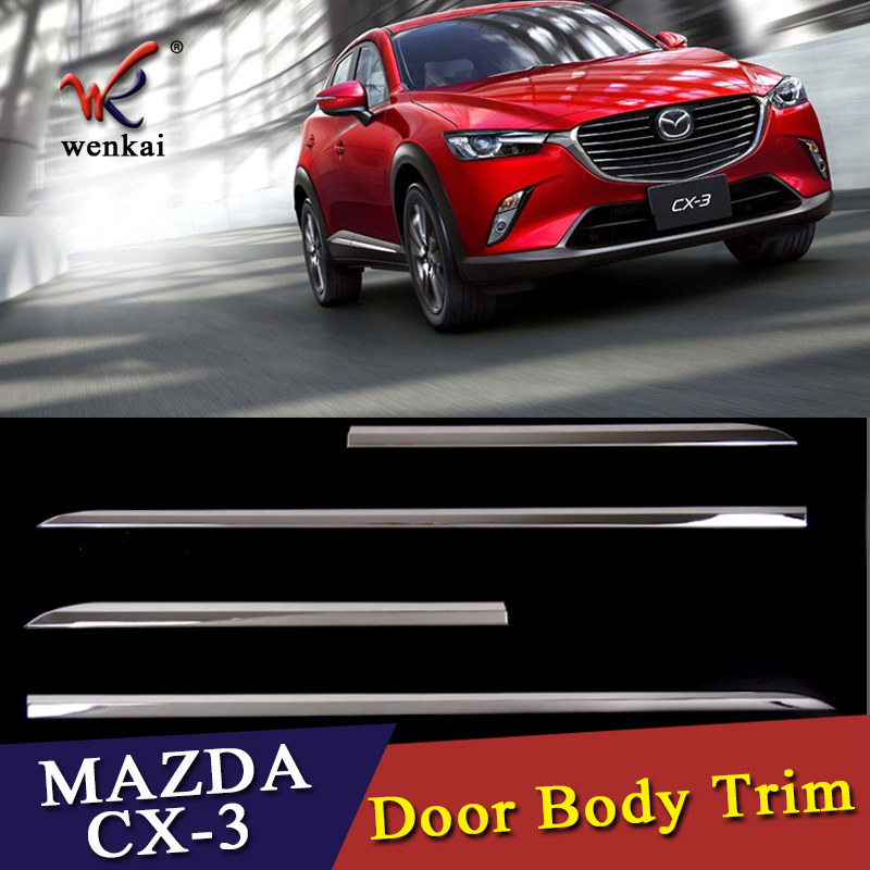 Chrome Molding Door Body Strips For Mazda CX 3 2016 2017 Accessories Trim Covers Car Styling