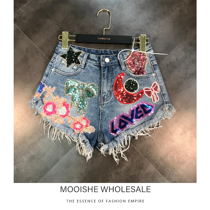 2019 Summer New Moon Stars Sequins Tassel Patch Raw Denim   Shorts   Female Tide