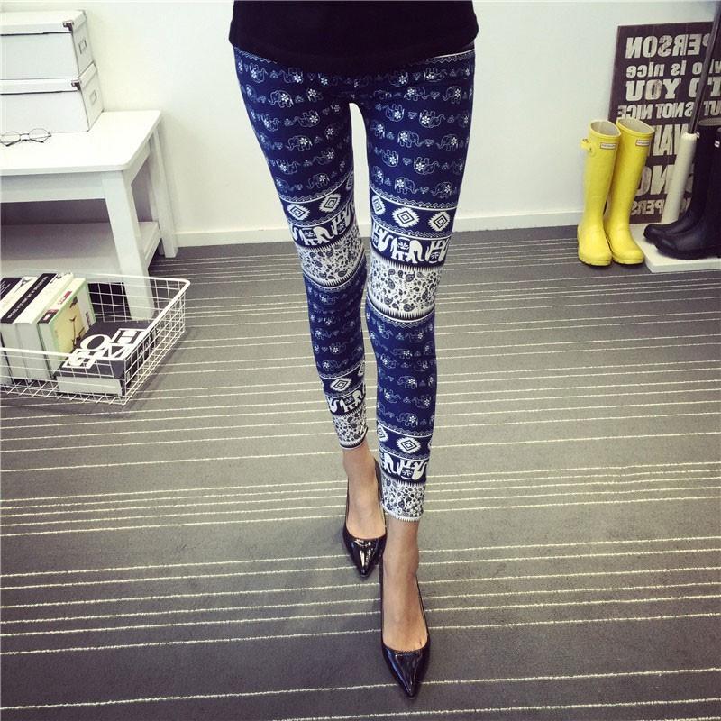BIVIGAOS Spring Summer Womens Fashion Black Milk Thin Stretch leggings Colored Stars Graffiti Slim Skinny Leggings Pants Female 58