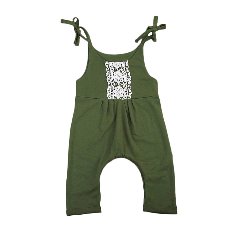 Sleeveless Summer Baby Girls Lace Rompers Newborn Baby Girl Jumpsuit Army Green Romper Outfits Sunsuit Clothes Set 0-24M