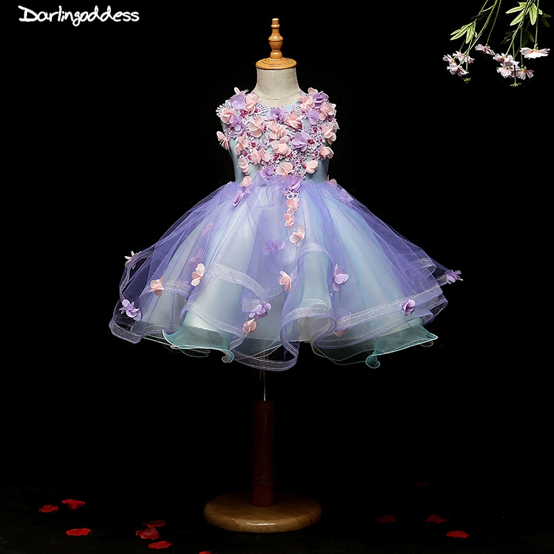 2018 Real Photos Purple Flower Girls Dresses for Weddings Baby Party Sexy Children Images Dress kids Prom dresses Evening gowns