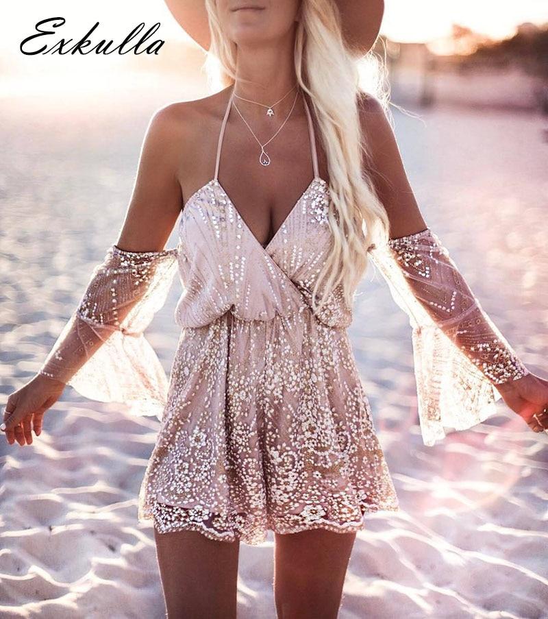 Eskulla Bodysuit women beach Tassel Sequin jumpsuit Sexy girl Beach romper lace overall Boho flower Backless Cami playsuit