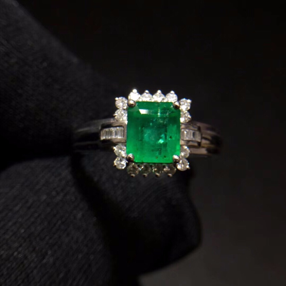 Fine Jewelry Real Pure 18 K White Gold 100% Natural Emerald 1.8ct Gemstone Diamonds Jewellery Female's Rings for women Fine Ring