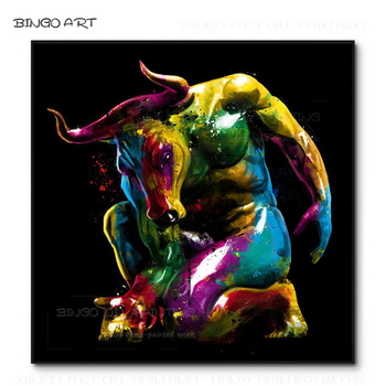 Special Design Hand-painted High Quality Sex Strong Bull Oil Painting on Canvas Unframed Strong Bull Picture for Wall Decoration