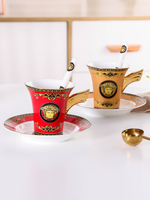 European Fine Bone China Golden Wing Coffee Cup Set Luxury Handmade Ceramic Afternoon Teacup Exquisite Coffee Cup And Saucer